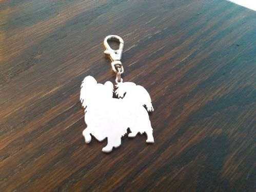 Papillon dog keyring 3.5cm Handcrafted made by saw piercing